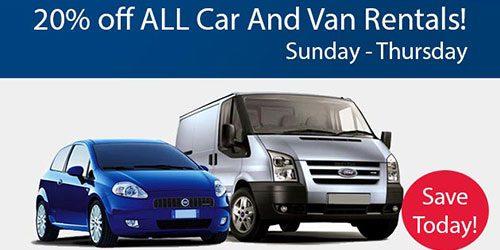 20% Off All Car & Van Rentals Sun-Thursday